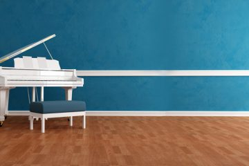 white gran piano in blue interior