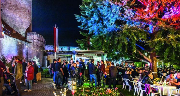 Blick auf das Rosengärtchen und den Malakoffturm bei Nacht