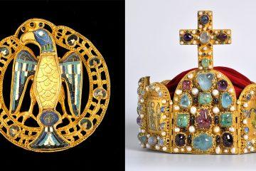 Kaiser-Ausstellung - Grosse_Adler-_Pfauenfibel und Reichskrone