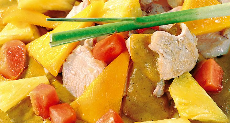 Maispoulardenbrust in Zitronengras-Curry-Sauce