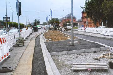 Rheinallee, Baustelle, Umweltspur